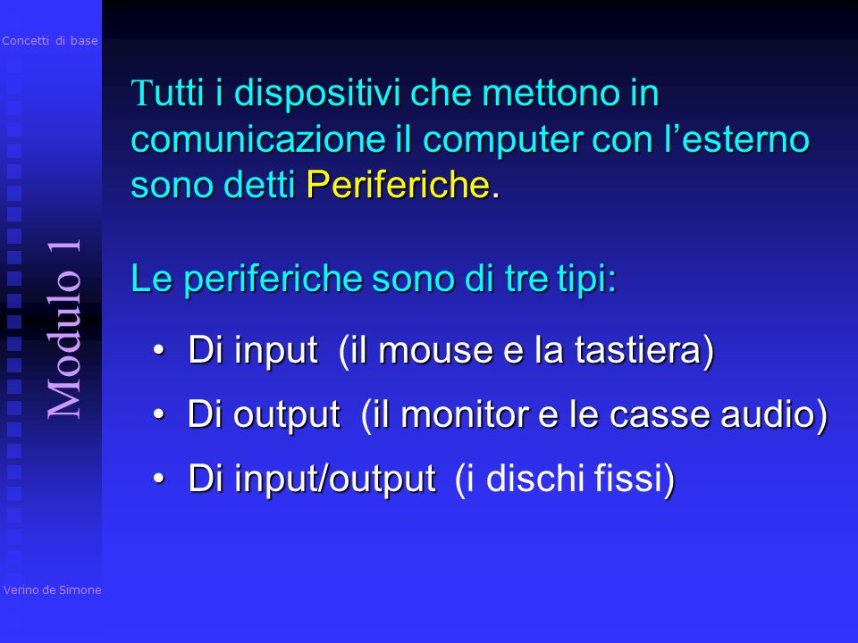 Concetti di base Tutti i dispositivi che mettono in comunicazione il computer con l'esterno sono detti Periferiche.