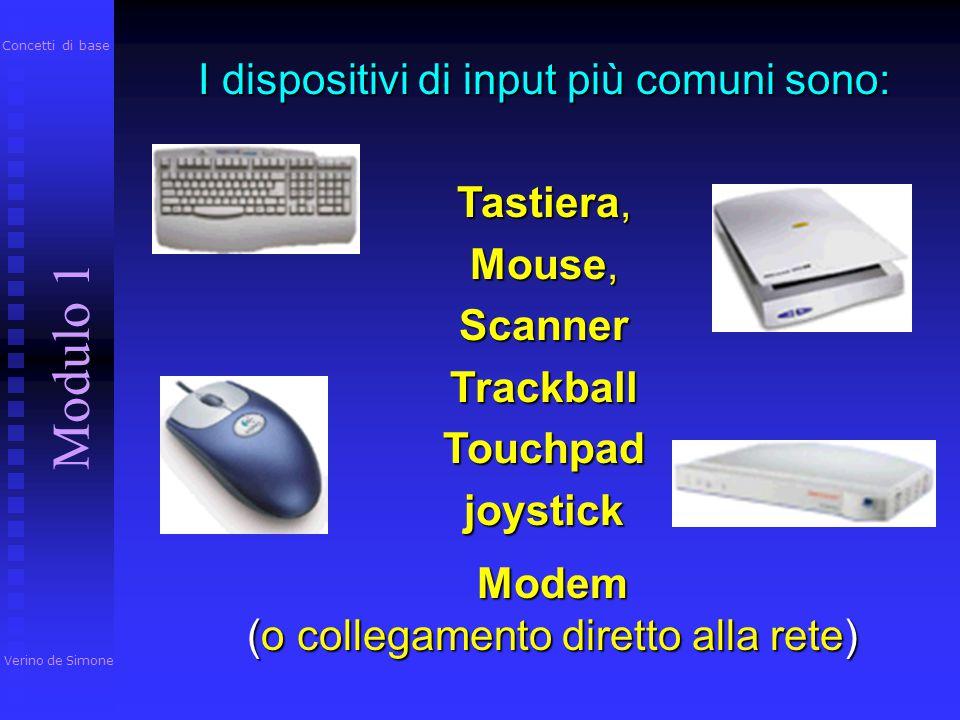 Modulo 1 I dispositivi di input più comuni sono: Tastiera, Mouse,