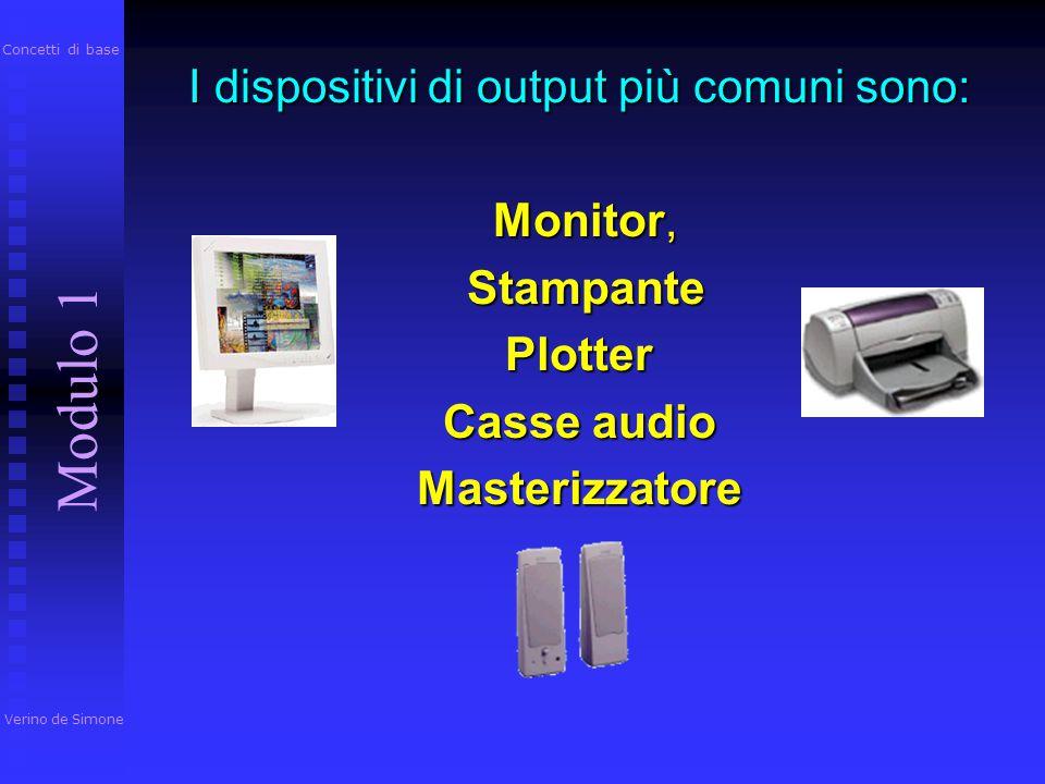 I dispositivi di output più comuni sono: