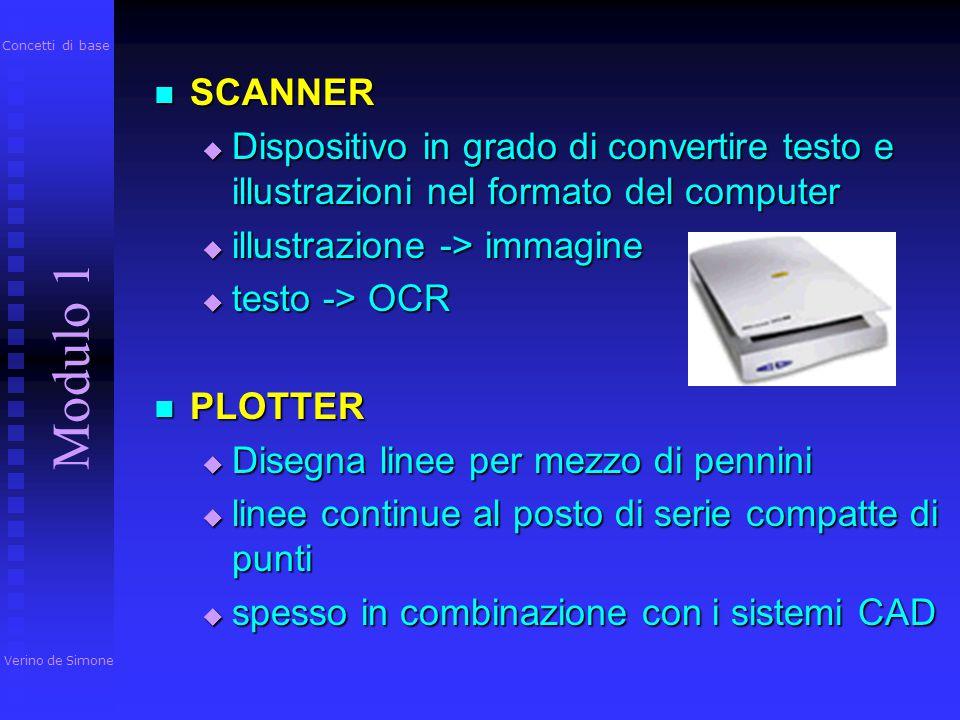 Concetti di base SCANNER. Dispositivo in grado di convertire testo e illustrazioni nel formato del computer.