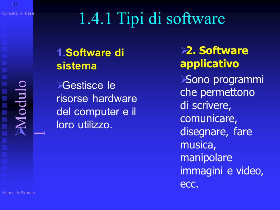 1.4.1 Tipi di software Modulo 1 2. Software applicativo
