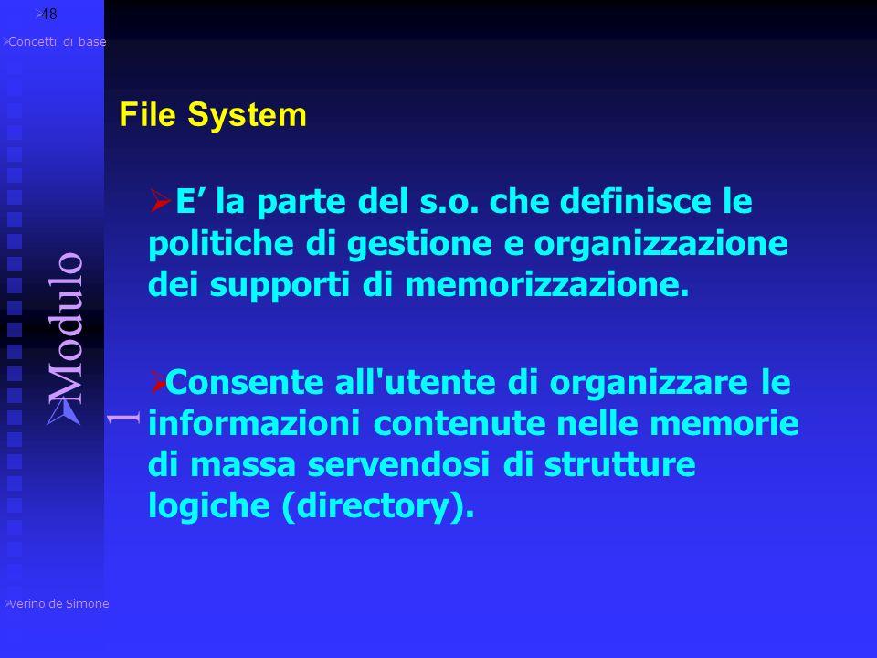48 Verino de Simone. Modulo 1. Concetti di base. File System.