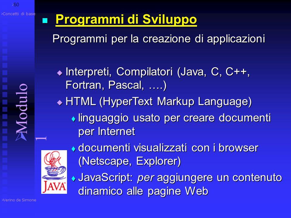 Modulo 1 Programmi per la creazione di applicazioni