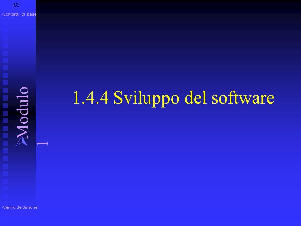 1.4.4 Sviluppo del software Modulo 1 62 Concetti di base