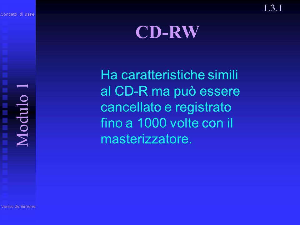 1.3.1 Verino de Simone. Modulo 1. Concetti di base. CD-RW.