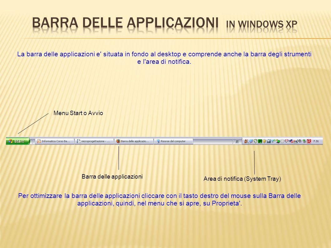 Barra delle applicazioni in windows XP