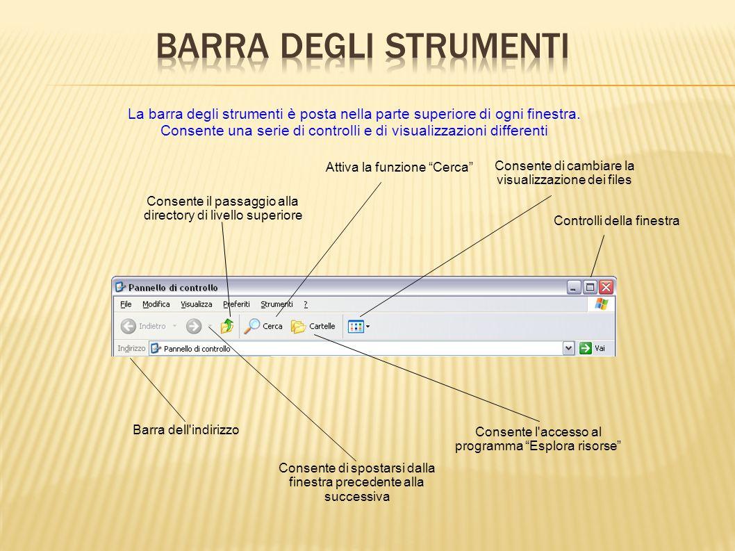 Barra degli Strumenti La barra degli strumenti è posta nella parte superiore di ogni finestra.