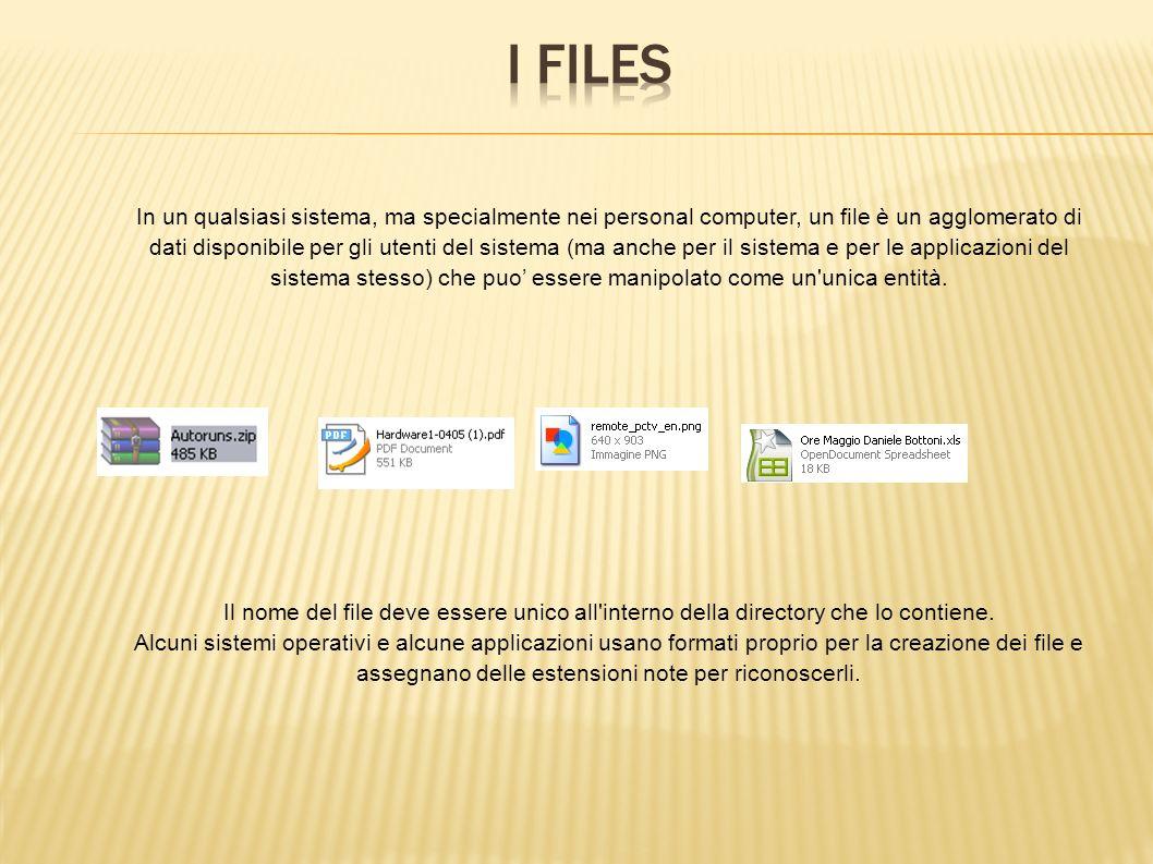 I Files In un qualsiasi sistema, ma specialmente nei personal computer, un file è un agglomerato di.