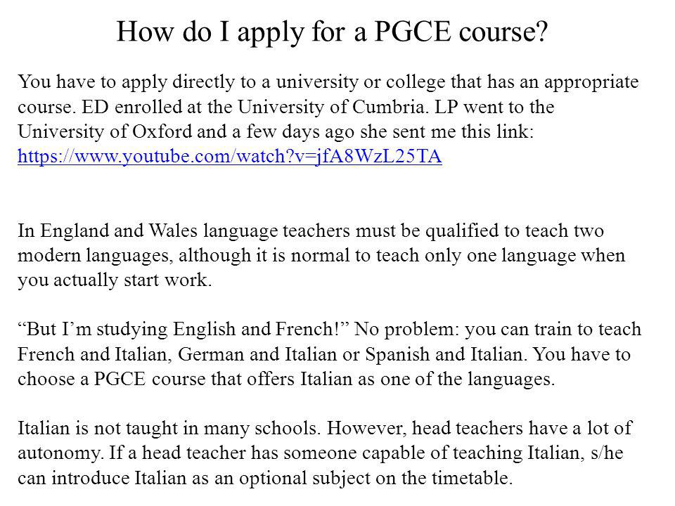How do I apply for a PGCE course