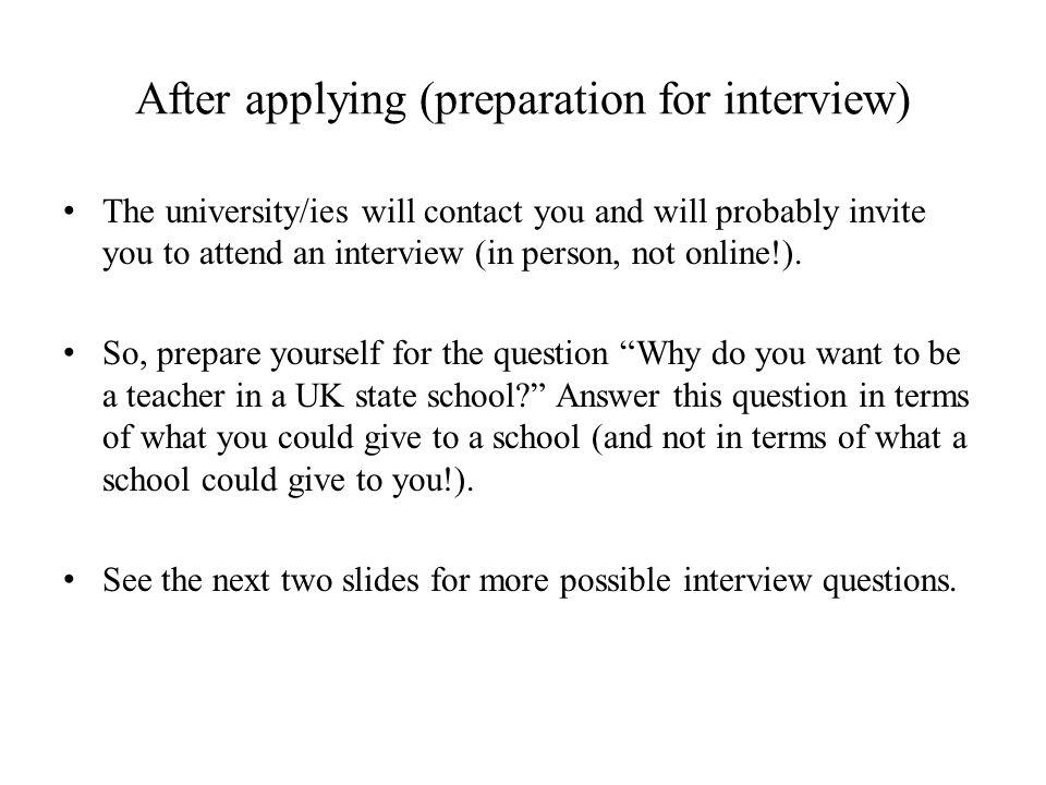 After applying (preparation for interview)