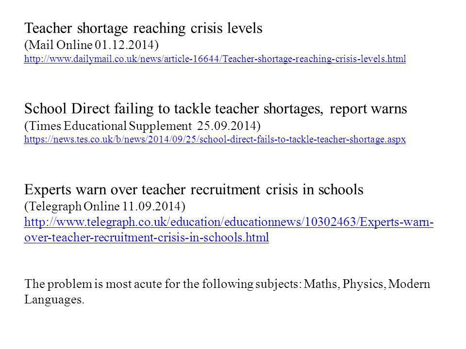 Teacher shortage reaching crisis levels