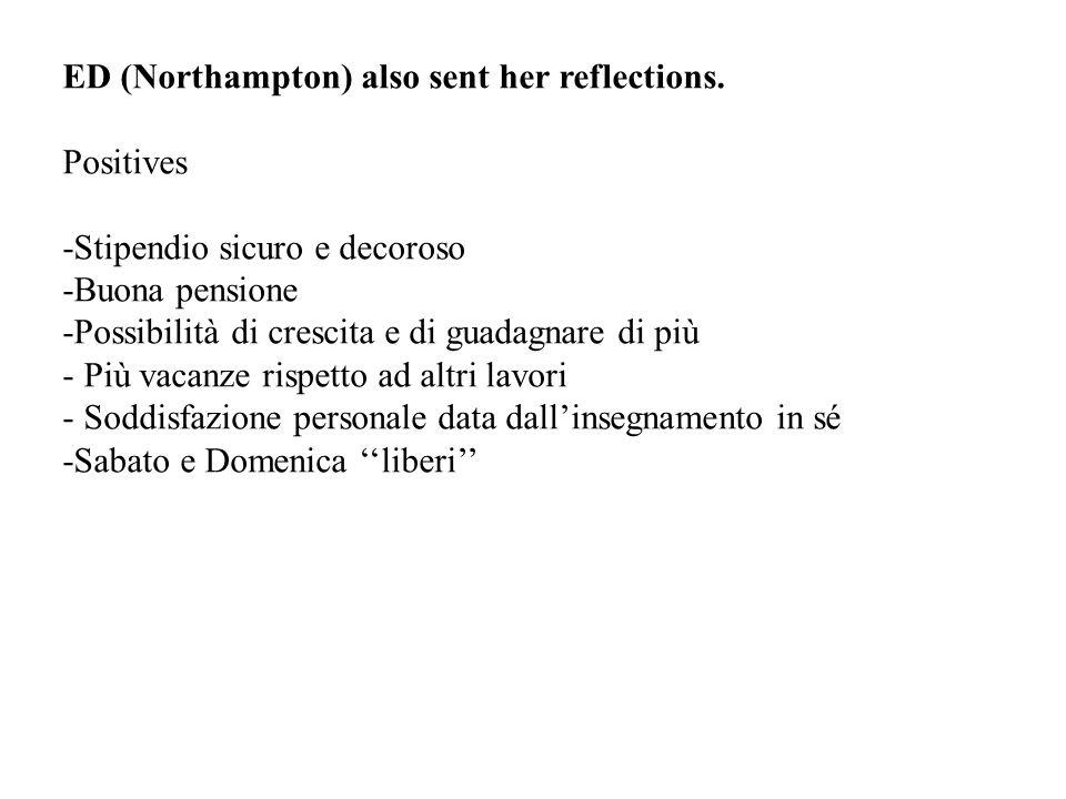 ED (Northampton) also sent her reflections.