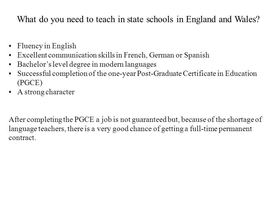 What do you need to teach in state schools in England and Wales