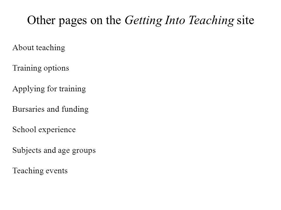 Other pages on the Getting Into Teaching site