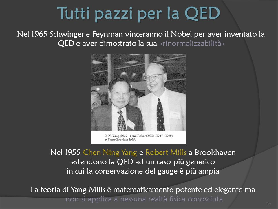 Tutti pazzi per la QED Nel 1965 Schwinger e Feynman vinceranno il Nobel per aver inventato la QED e aver dimostrato la sua «rinormalizzabilità»
