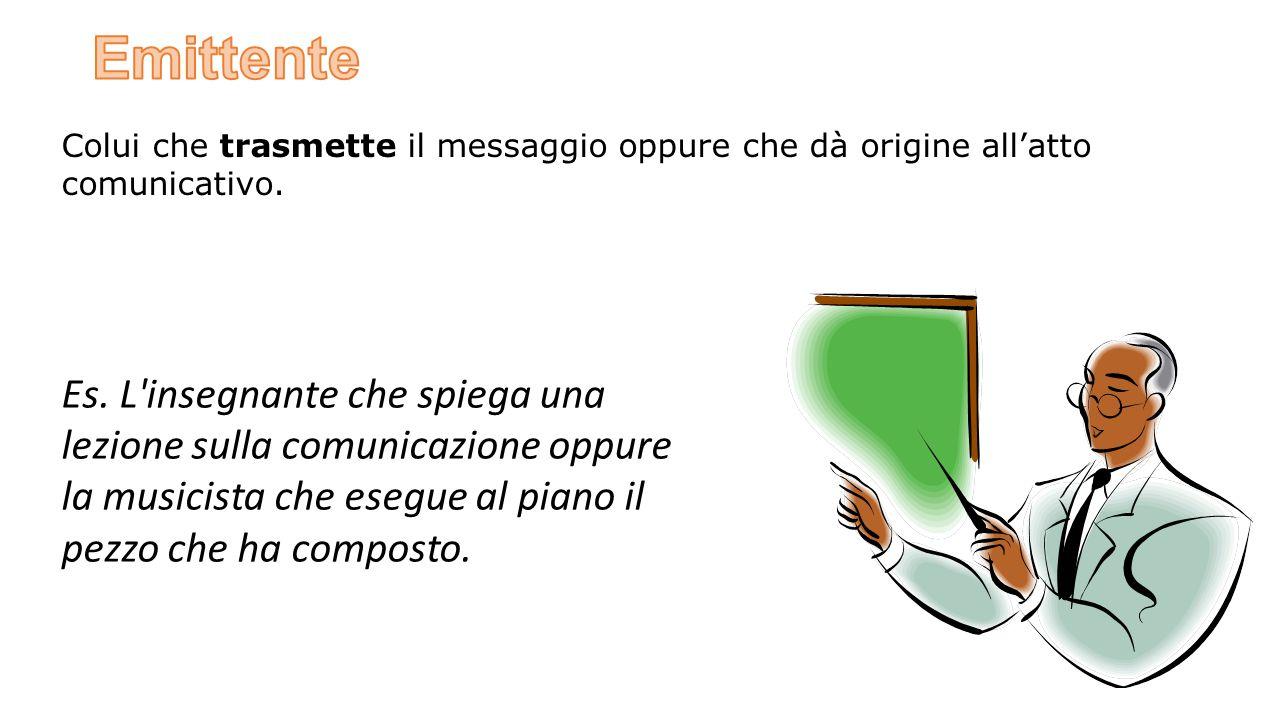 Emittente Colui che trasmette il messaggio oppure che dà origine all'atto comunicativo.