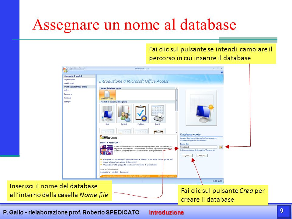 Assegnare un nome al database