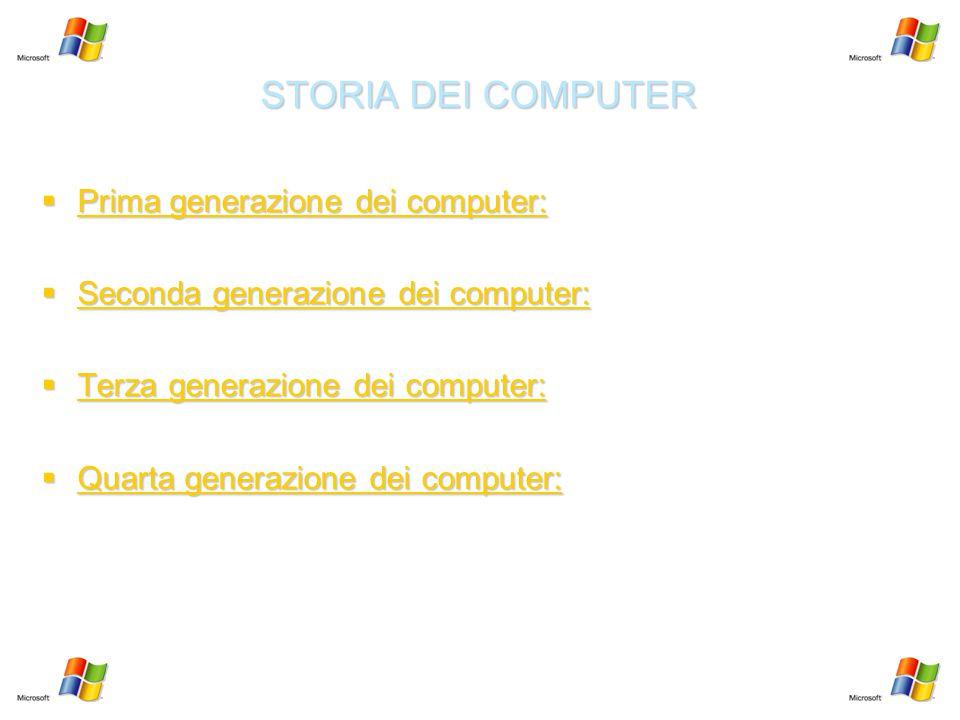 STORIA DEI COMPUTER Prima generazione dei computer: