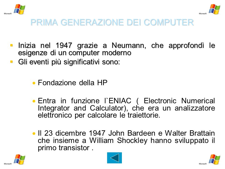 PRIMA GENERAZIONE DEI COMPUTER
