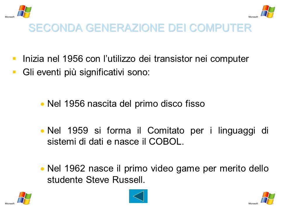 SECONDA GENERAZIONE DEI COMPUTER