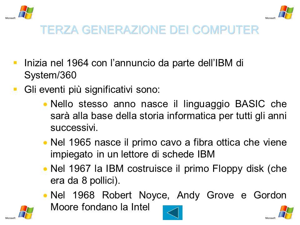 TERZA GENERAZIONE DEI COMPUTER