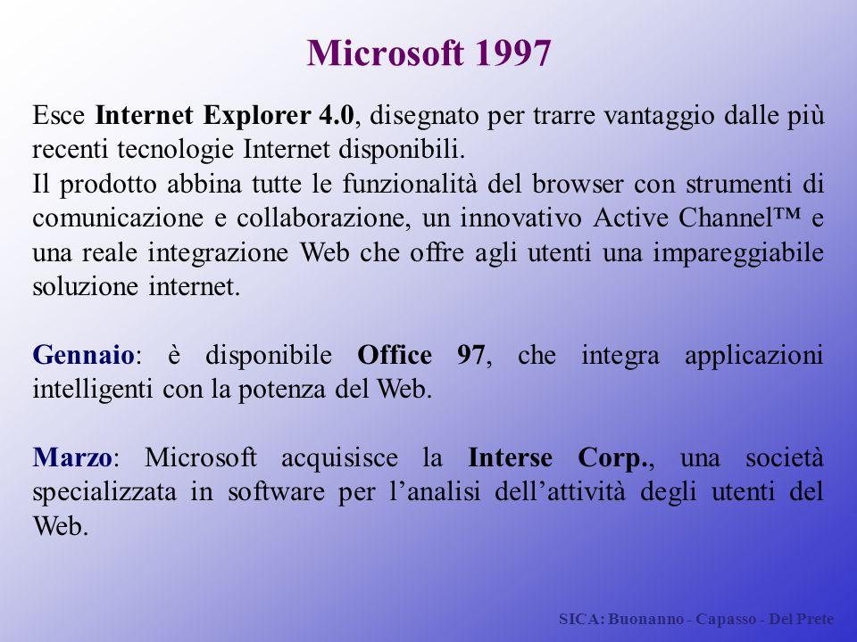 Microsoft 1997 Esce Internet Explorer 4.0, disegnato per trarre vantaggio dalle più recenti tecnologie Internet disponibili.