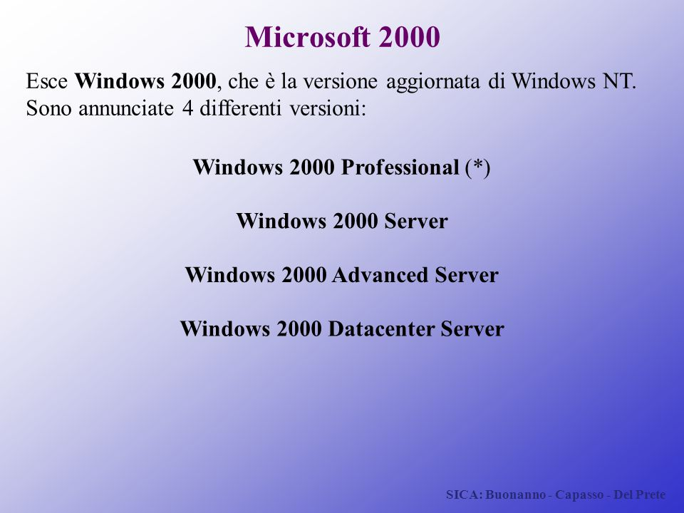 Windows 2000 Advanced Server Windows 2000 Datacenter Server