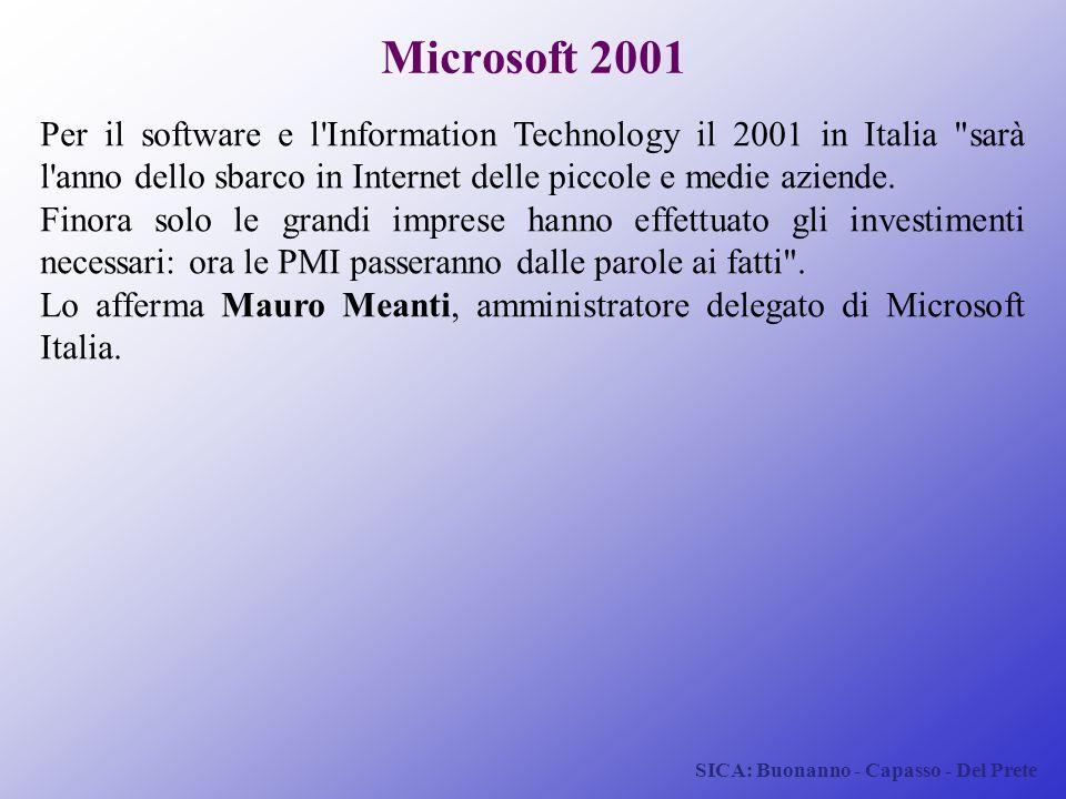 Microsoft 2001 Per il software e l Information Technology il 2001 in Italia sarà l anno dello sbarco in Internet delle piccole e medie aziende.