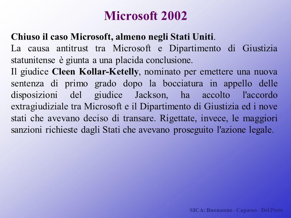 Microsoft 2002 Chiuso il caso Microsoft, almeno negli Stati Uniti.