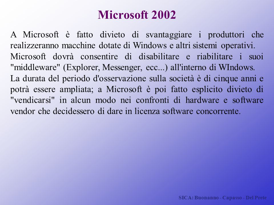 Microsoft 2002 A Microsoft è fatto divieto di svantaggiare i produttori che realizzeranno macchine dotate di Windows e altri sistemi operativi.