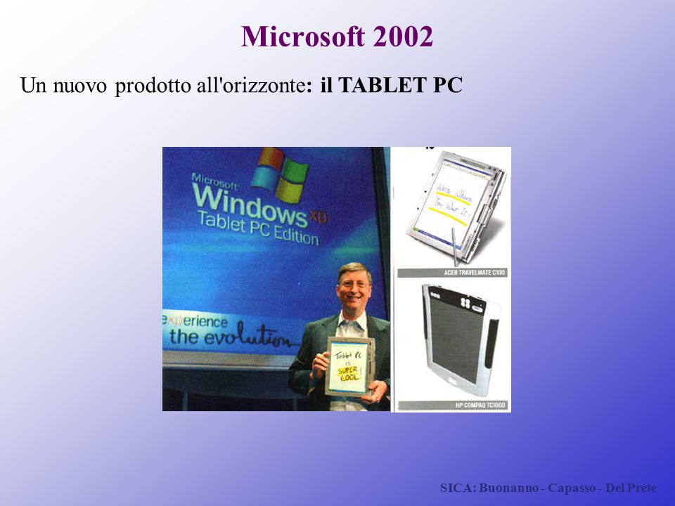 Microsoft 2002 Un nuovo prodotto all orizzonte: il TABLET PC