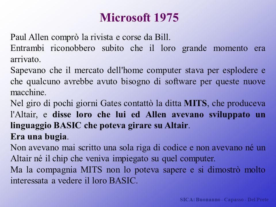 Microsoft 1975 Paul Allen comprò la rivista e corse da Bill.