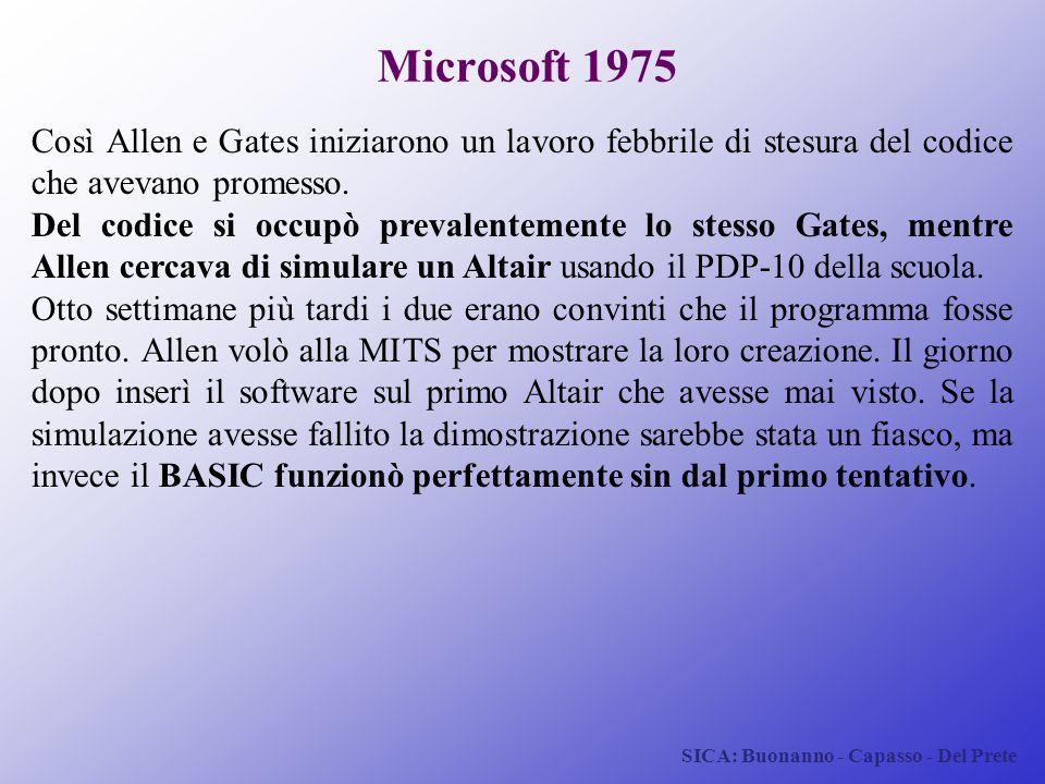 Microsoft 1975 Così Allen e Gates iniziarono un lavoro febbrile di stesura del codice che avevano promesso.
