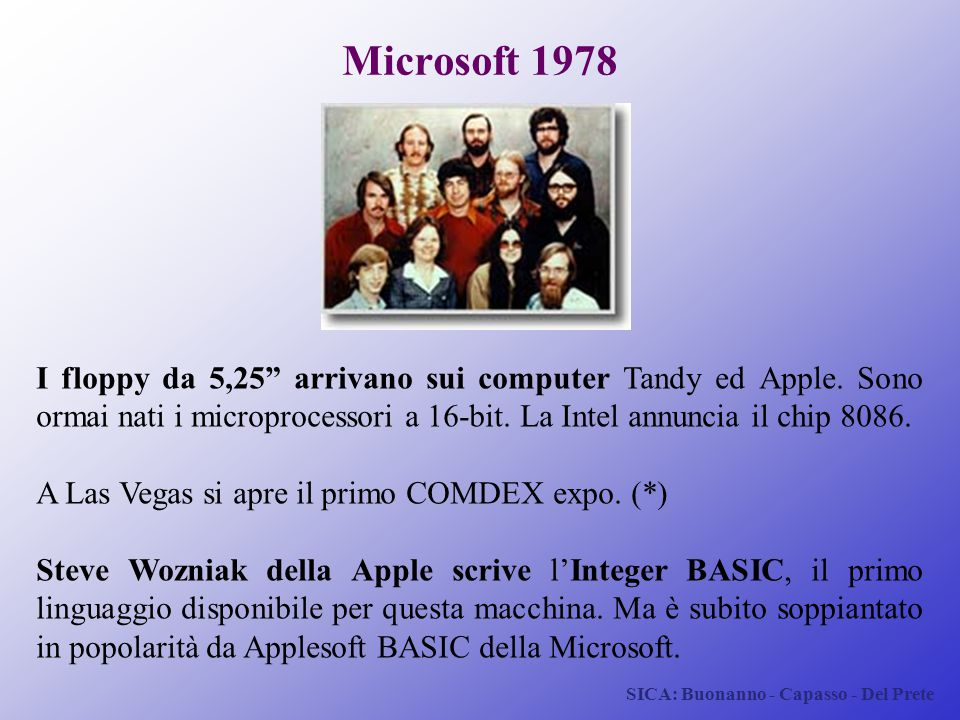 Microsoft 1978 I floppy da 5,25 arrivano sui computer Tandy ed Apple. Sono ormai nati i microprocessori a 16-bit. La Intel annuncia il chip 8086.