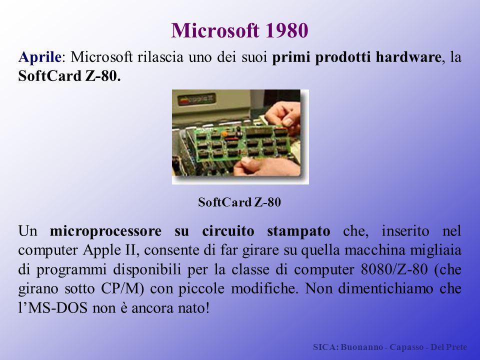Microsoft 1980 Aprile: Microsoft rilascia uno dei suoi primi prodotti hardware, la SoftCard Z-80. SoftCard Z-80.