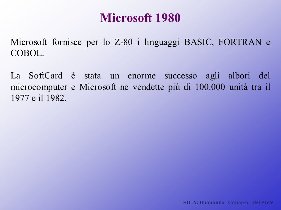 Microsoft 1980 Microsoft fornisce per lo Z-80 i linguaggi BASIC, FORTRAN e COBOL.