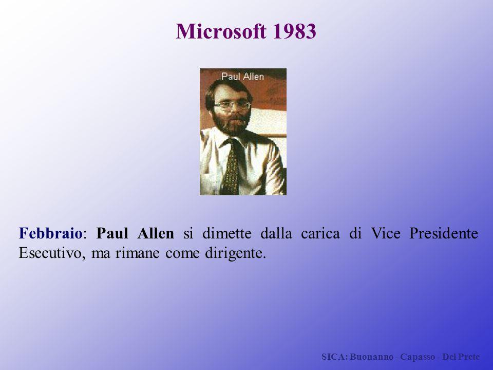 Microsoft 1983 Febbraio: Paul Allen si dimette dalla carica di Vice Presidente Esecutivo, ma rimane come dirigente.