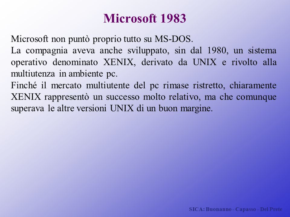 Microsoft 1983 Microsoft non puntò proprio tutto su MS-DOS.