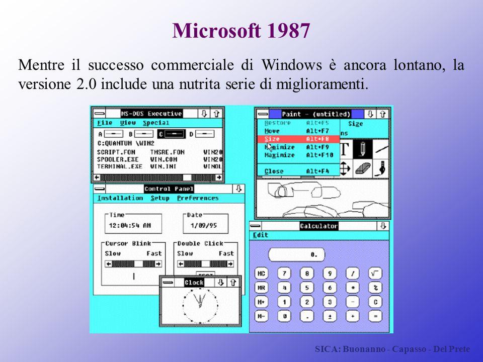Microsoft 1987 Mentre il successo commerciale di Windows è ancora lontano, la versione 2.0 include una nutrita serie di miglioramenti.