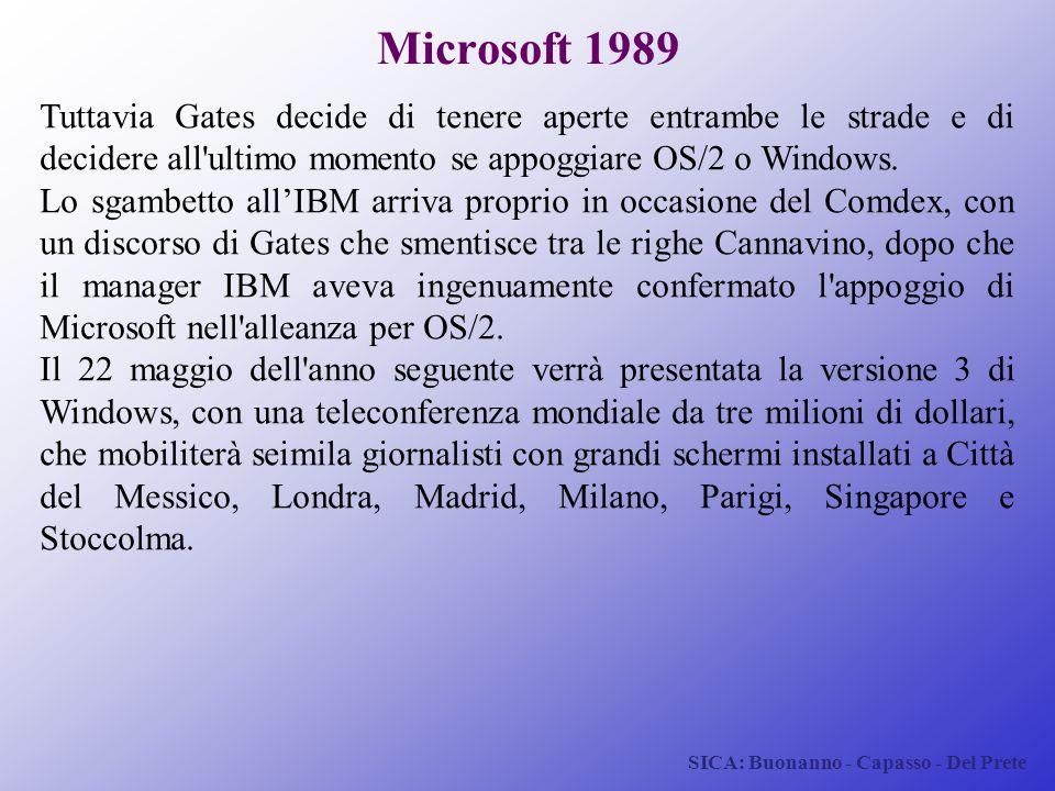 Microsoft 1989 Tuttavia Gates decide di tenere aperte entrambe le strade e di decidere all ultimo momento se appoggiare OS/2 o Windows.