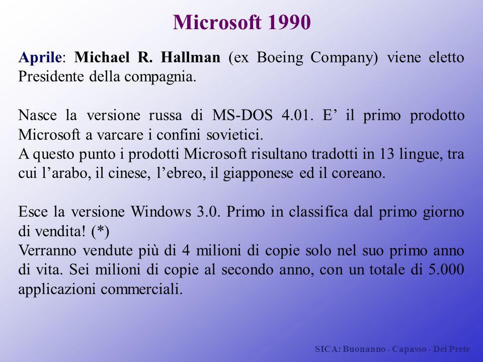 Microsoft 1990 Aprile: Michael R. Hallman (ex Boeing Company) viene eletto Presidente della compagnia.