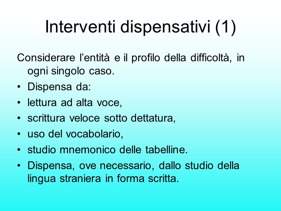 Interventi dispensativi (1)