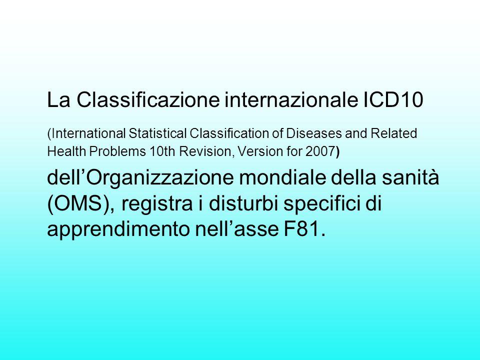 La Classificazione internazionale ICD10