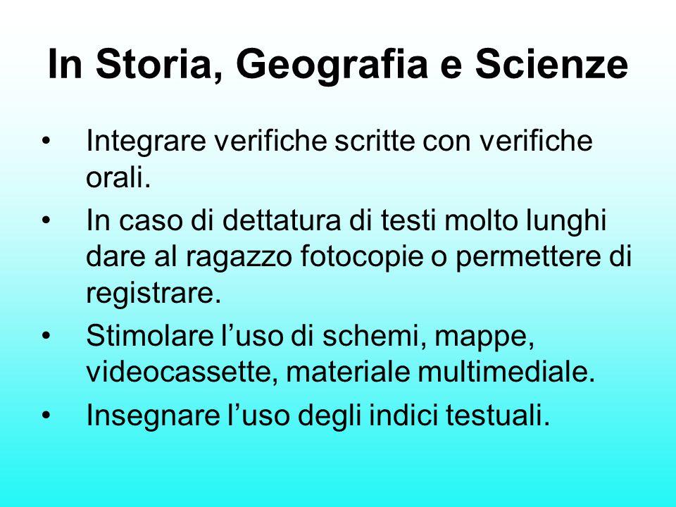 In Storia, Geografia e Scienze