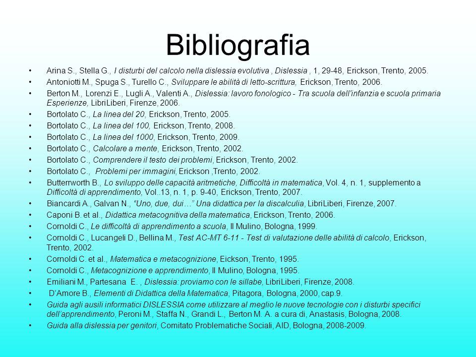 Bibliografia Arina S., Stella G., I disturbi del calcolo nella dislessia evolutiva , Dislessia , 1, 29-48, Erickson, Trento, 2005.