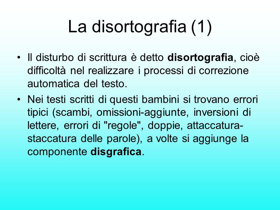 La disortografia (1) Il disturbo di scrittura è detto disortografia, cioè difficoltà nel realizzare i processi di correzione automatica del testo.