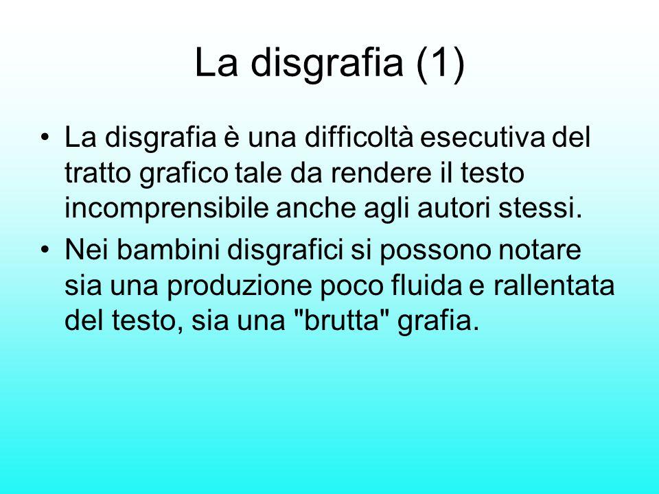 La disgrafia (1) La disgrafia è una difficoltà esecutiva del tratto grafico tale da rendere il testo incomprensibile anche agli autori stessi.