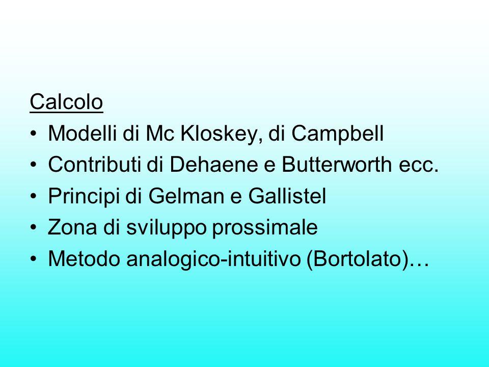 Calcolo Modelli di Mc Kloskey, di Campbell. Contributi di Dehaene e Butterworth ecc. Principi di Gelman e Gallistel.