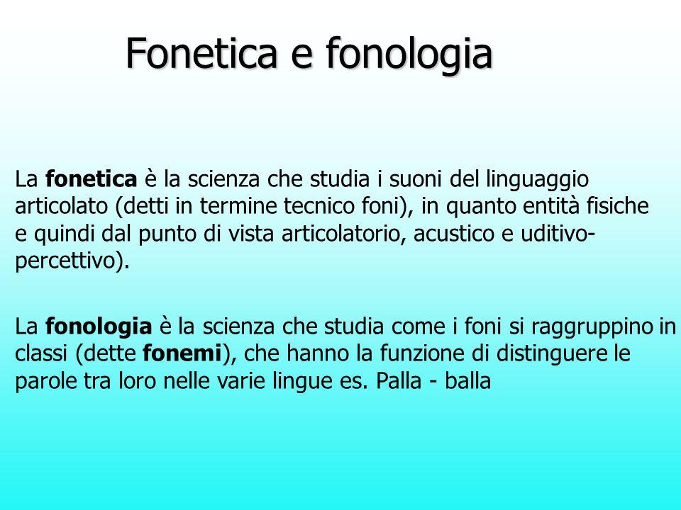 Fonetica e fonologia La fonetica è la scienza che studia i suoni del linguaggio.