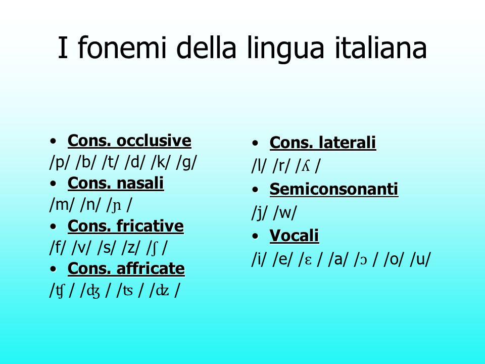 I fonemi della lingua italiana